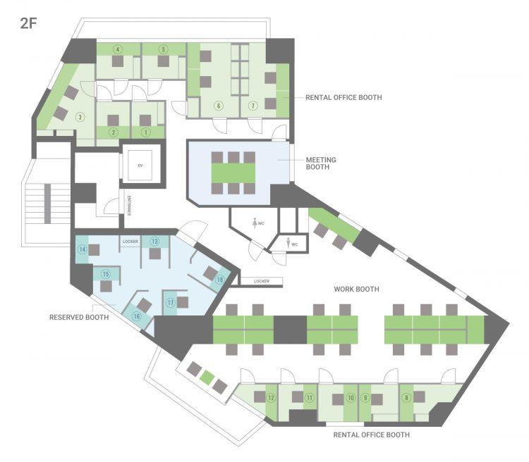 東池袋オフィスの2Fのフロアマップ