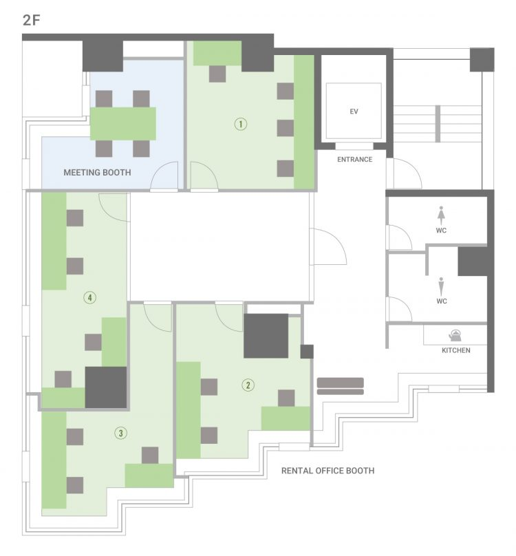 池袋オフィスの2Fのフロアマップ