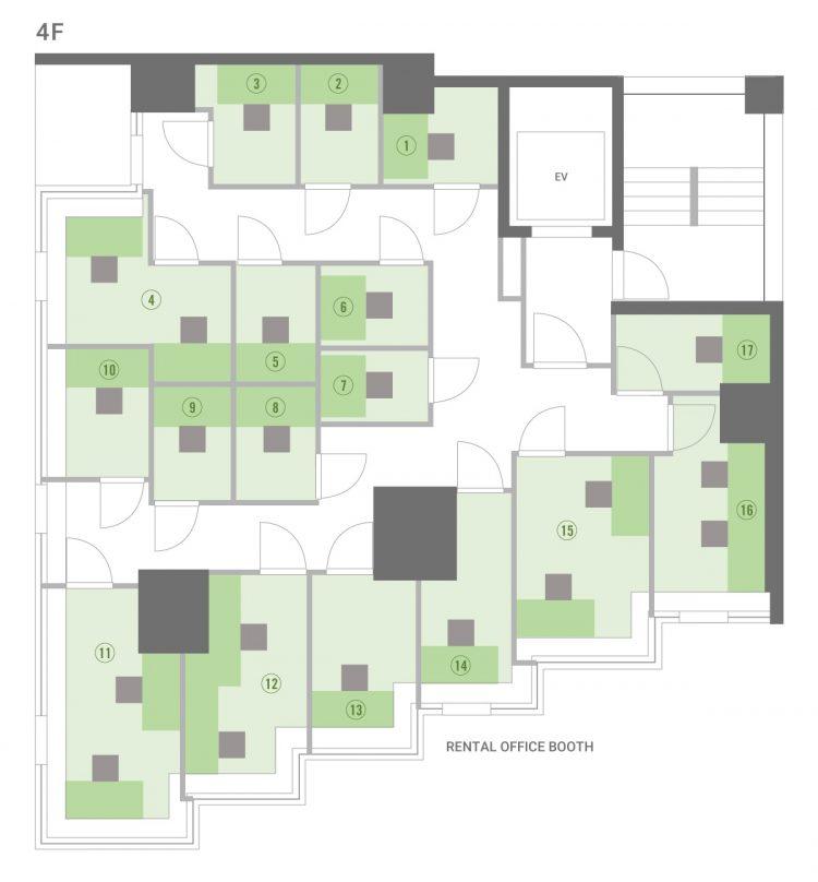 池袋オフィスの4Fのフロアマップ