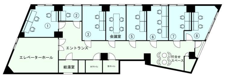 新宿三丁目オフィスの3Fのフロアマップ