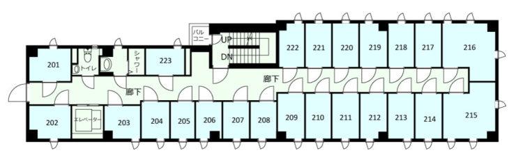 大田長原オフィスの2Fのフロアマップ