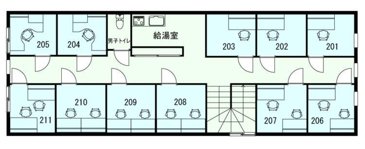 青山表参道オフィスの2Fのフロアマップ
