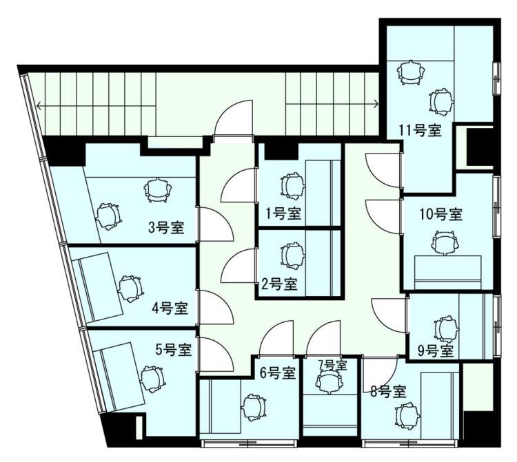 浅草 蔵前オフィスの2Fのフロアマップ