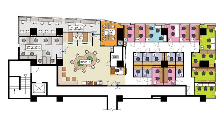 湘南平塚オフィスの3Fのフロアマップ