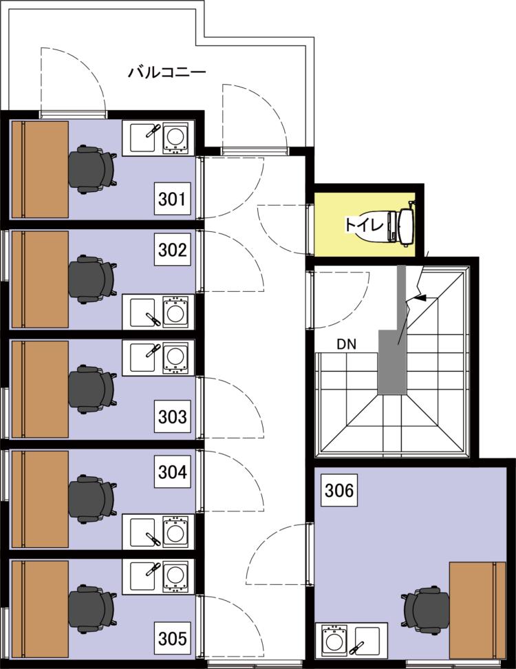 上野北オフィスの3Fのフロアマップ