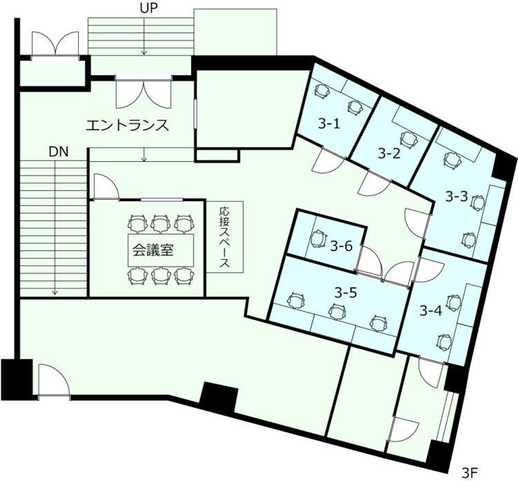 横浜港北オフィスの3Fのフロアマップ