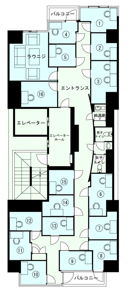 横浜関内オフィスの2Fのフロアマップ