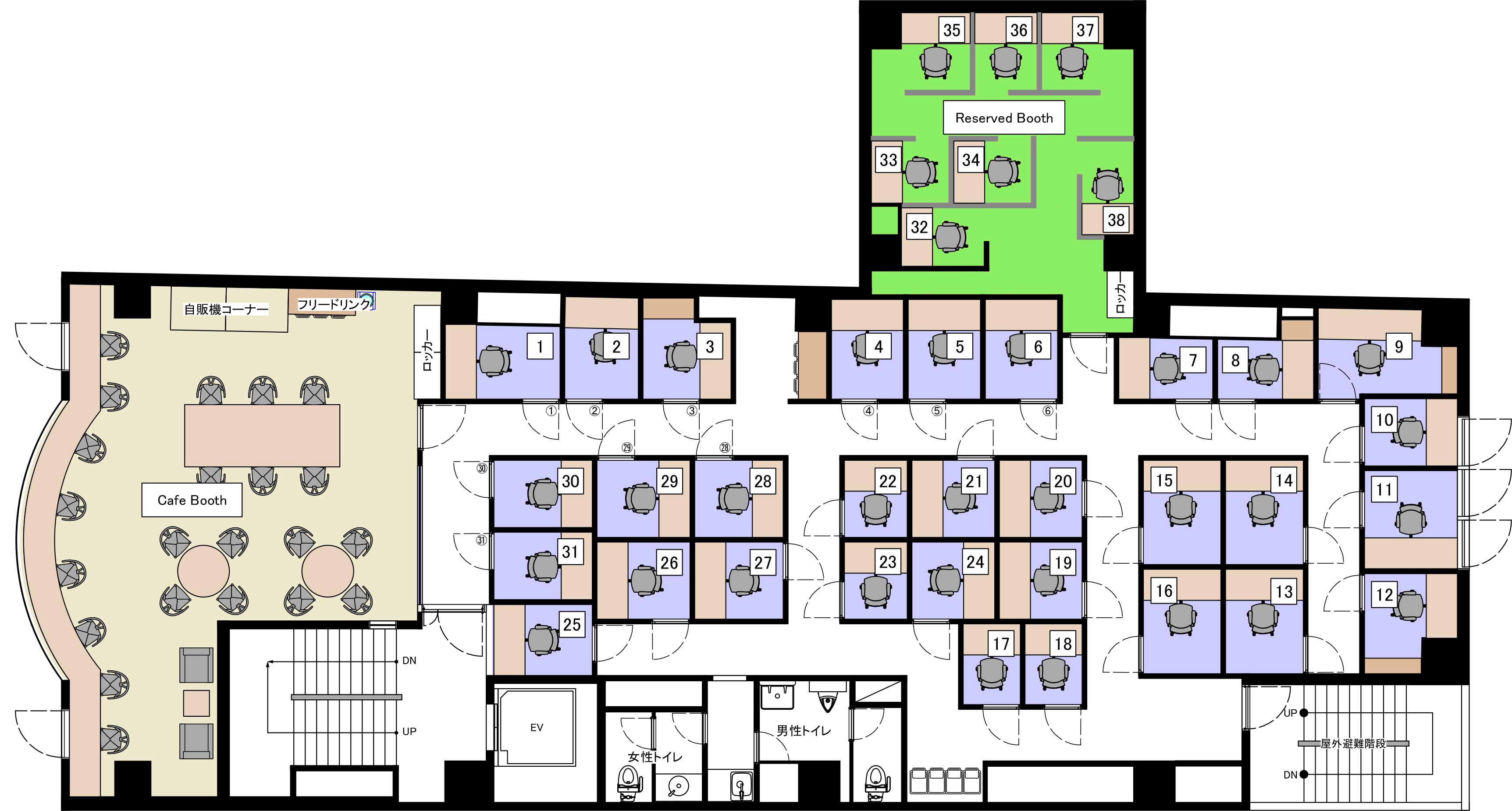 横浜元町オフィスの3Fのフロアマップ