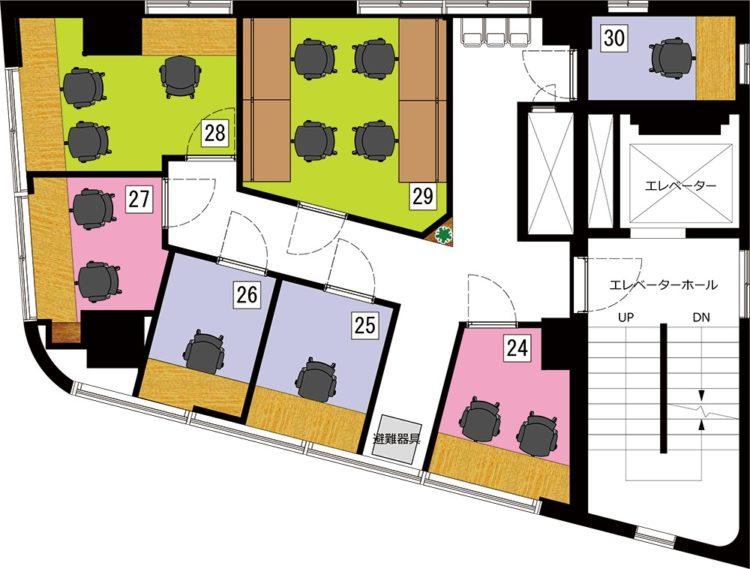 秋葉原 岩本町オフィスの6Fのフロアマップ