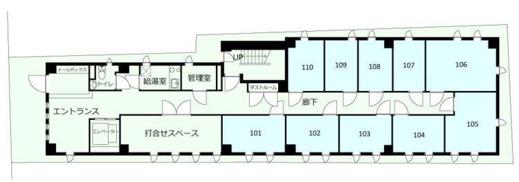 大田長原オフィスの1Fのフロアマップ