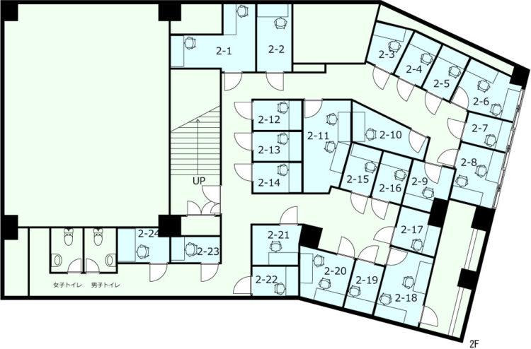横浜港北オフィスの2Fのフロアマップ