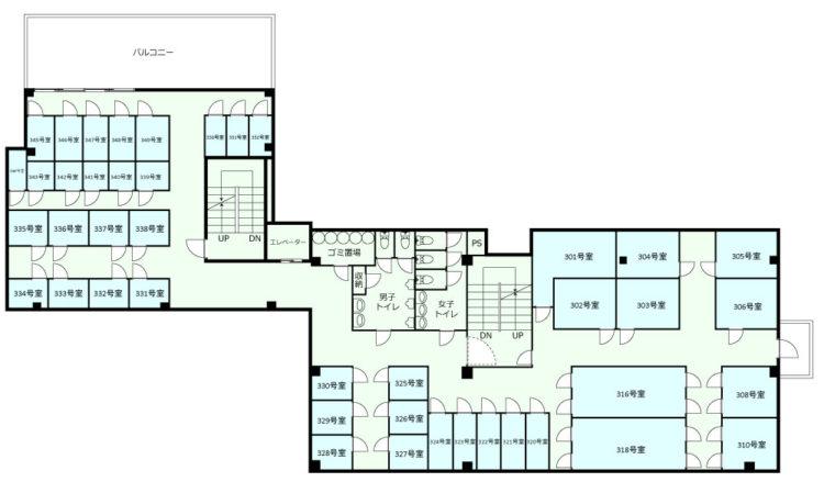 新宿オフィスの3Fのフロアマップ