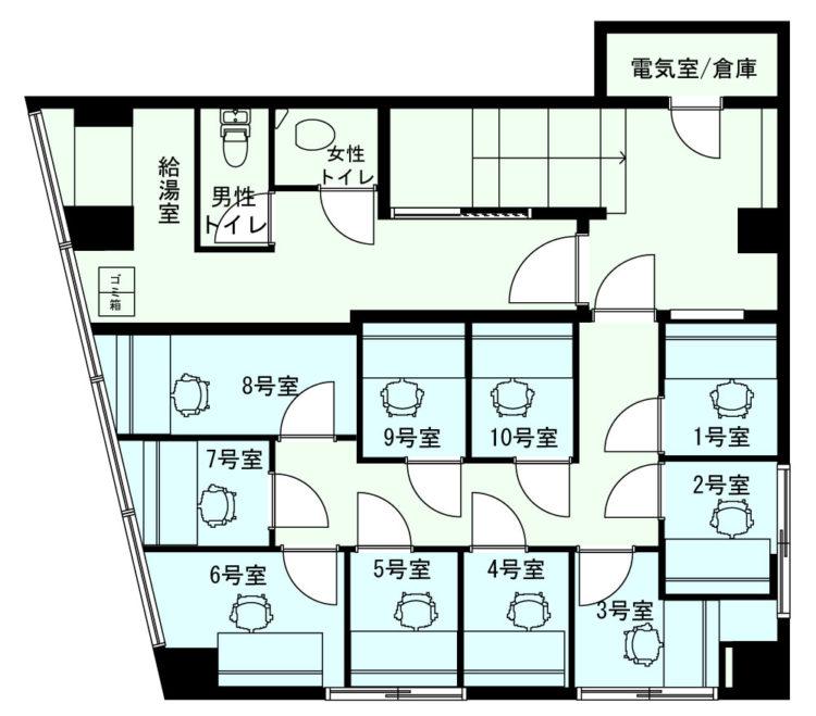 浅草 蔵前オフィスの3Fのフロアマップ