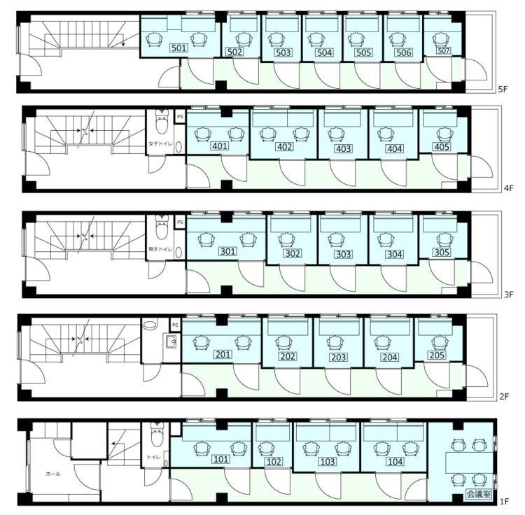 神田大手町オフィスの1F~5Fのフロアマップ