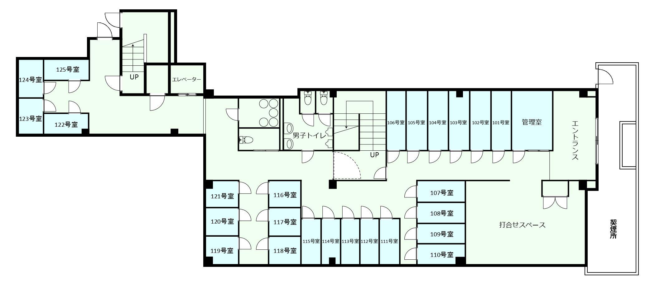新宿オフィスの1Fのフロアマップ