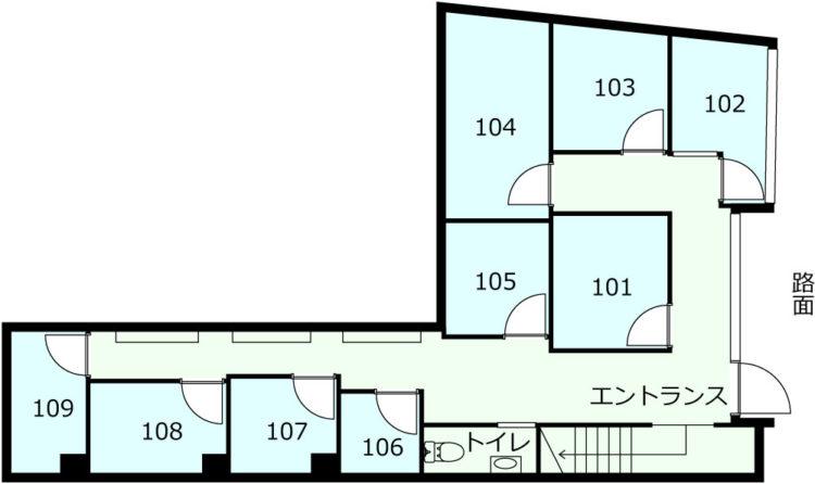 BASE南青山オフィスの1Fのフロアマップ