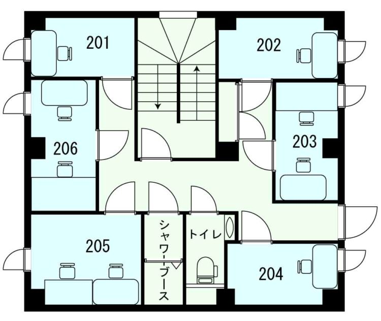 渋谷神泉オフィスの2Fのフロアマップ