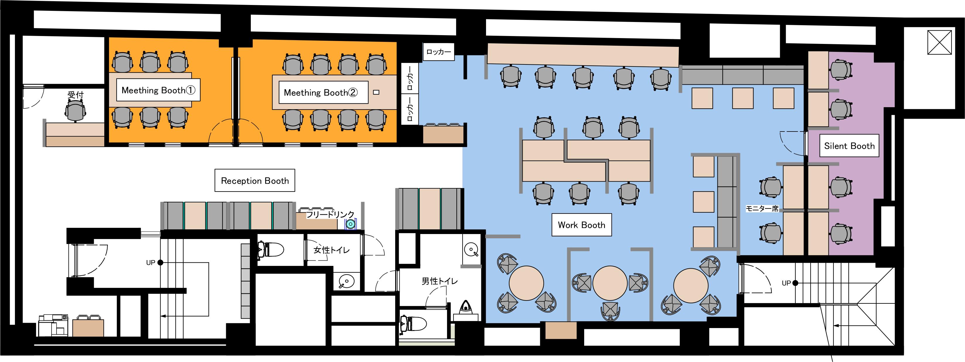 横浜元町オフィスのB1Fのフロアマップ
