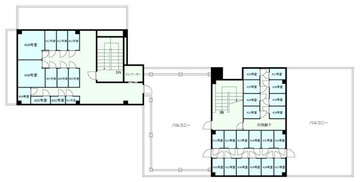新宿オフィスの4Fのフロアマップ