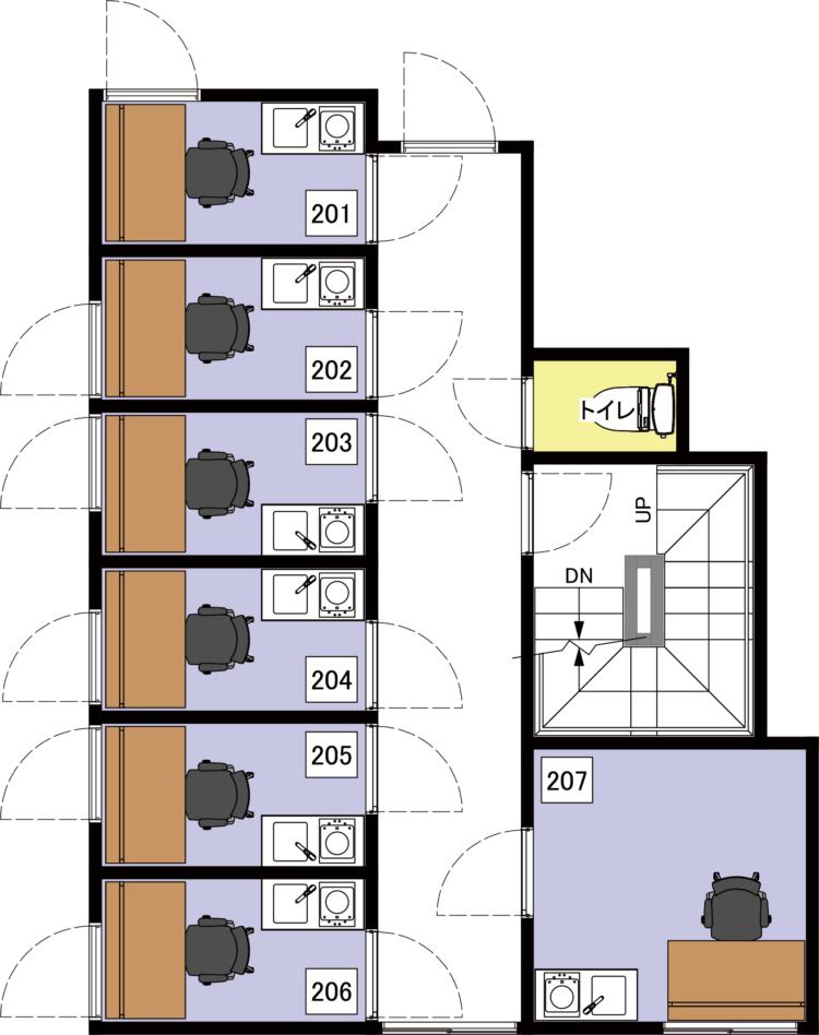 上野北オフィスの2Fのフロアマップ