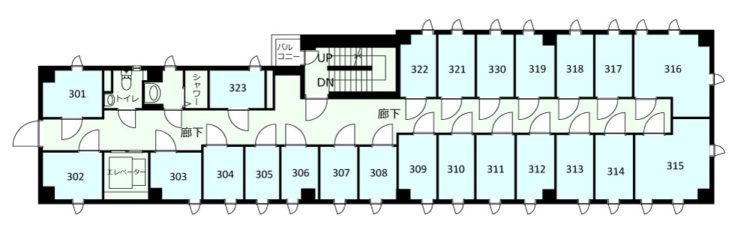 大田長原オフィスの3Fのフロアマップ