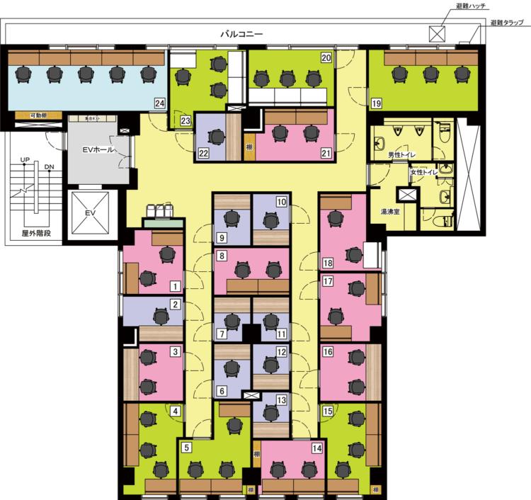 日本橋人形町オフィスの2Fのフロアマップ