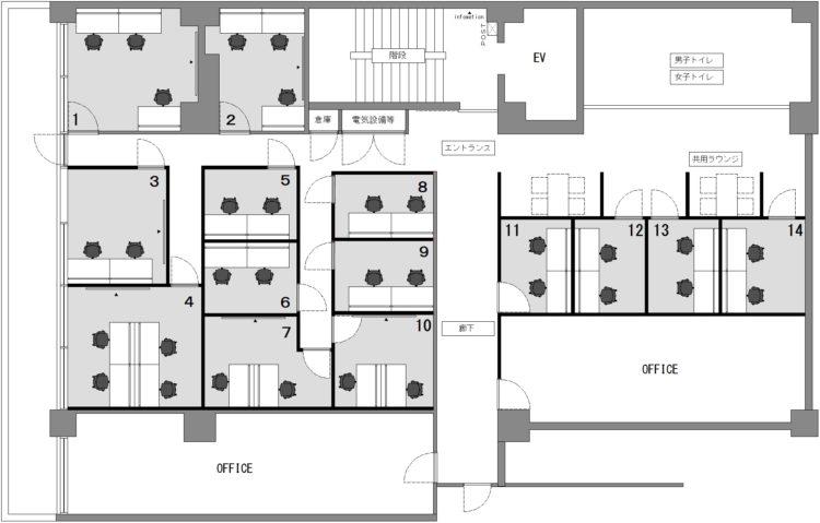 新宿区役所前オフィスの4Fのフロアマップ
