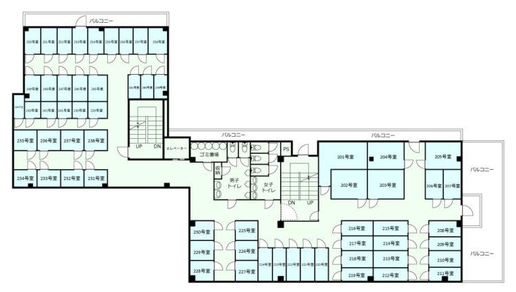 新宿オフィスの2Fのフロアマップ