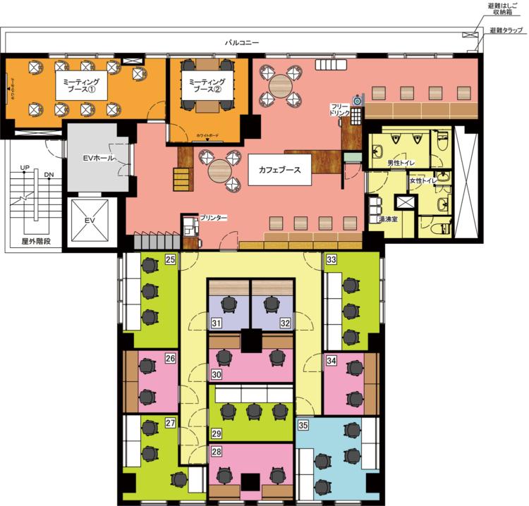日本橋人形町オフィスの3Fのフロアマップ
