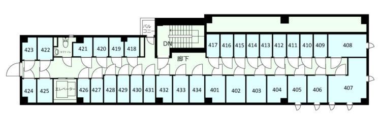 大田長原オフィスの4Fのフロアマップ