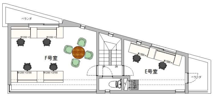 渋谷東オフィスの4Fのフロアマップ