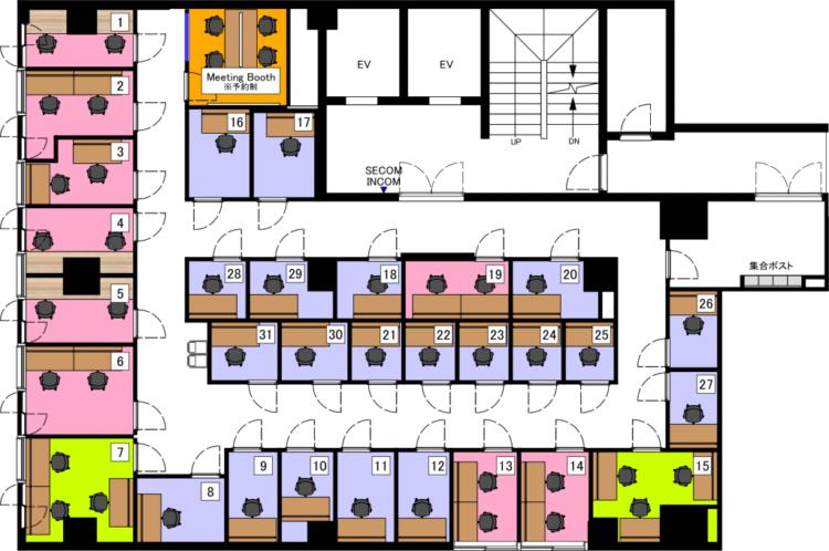神田オフィスの2Fのフロアマップ
