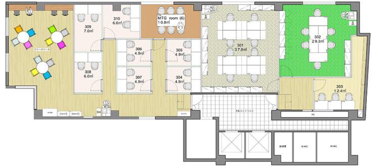 新宿御苑オフィスの3Fのフロアマップ