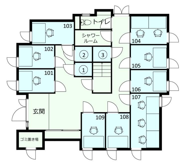 西荻南オフィスの1Fのフロアマップ