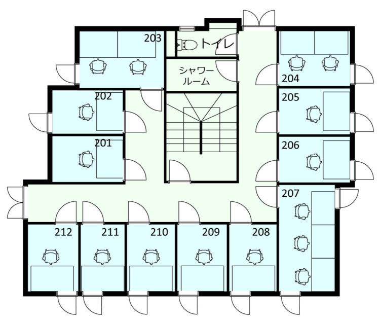 西荻南オフィスの2Fのフロアマップ