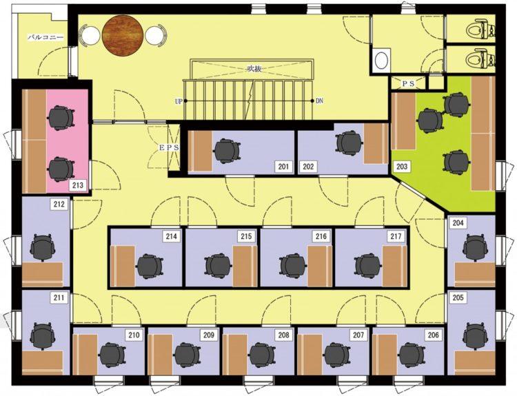 三軒茶屋オフィスの2Fのフロアマップ