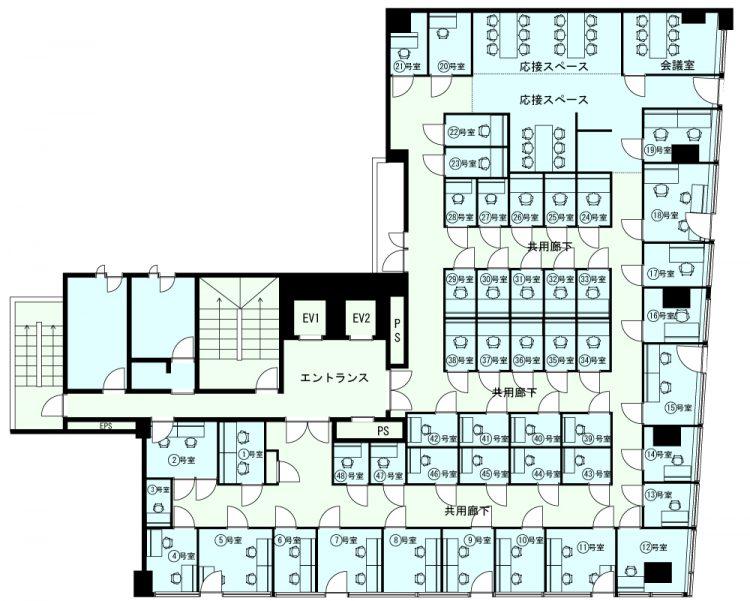 浅草橋オフィスの5Fのフロアマップ