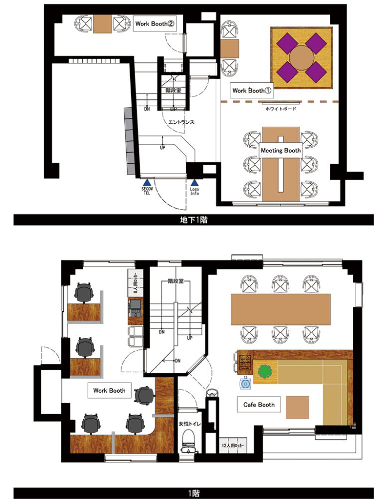 神楽坂 天神オフィスの1F・2Fのフロアマップ