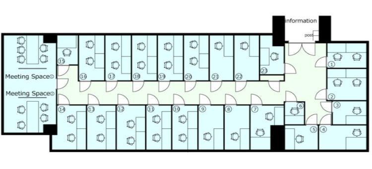 長堀心斎橋オフィスの1Fのフロアマップ