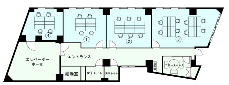 新宿三丁目オフィスの7Fのフロアマップ