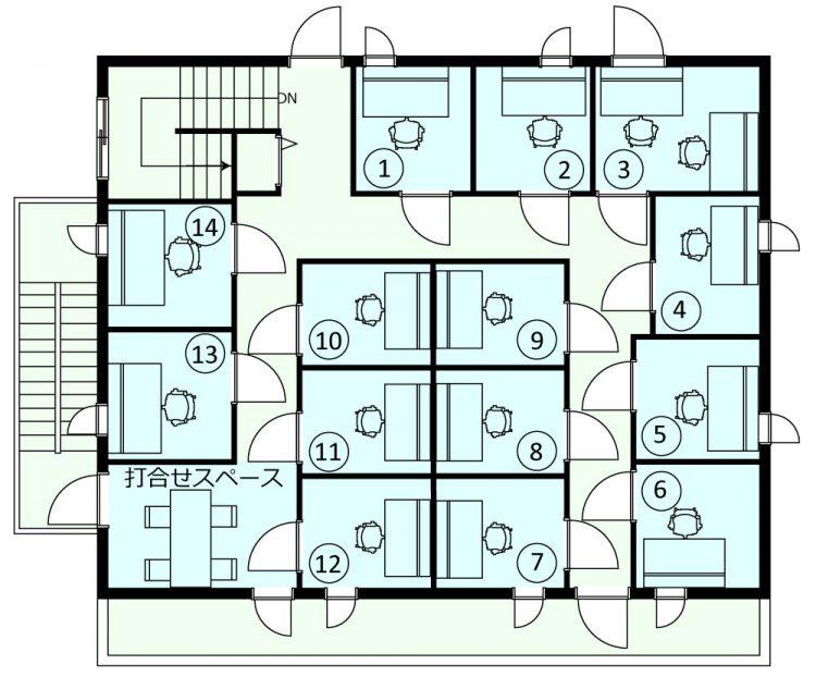 高円寺南オフィスの3階のフロアマップ