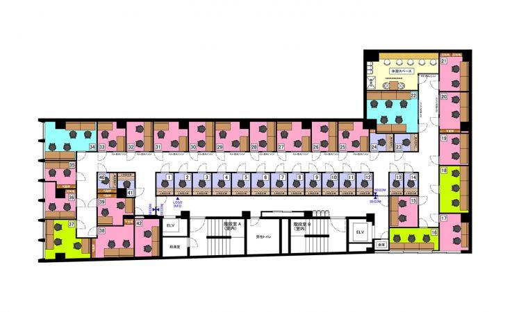 京都四条烏丸オフィスの5Fのフロアマップ