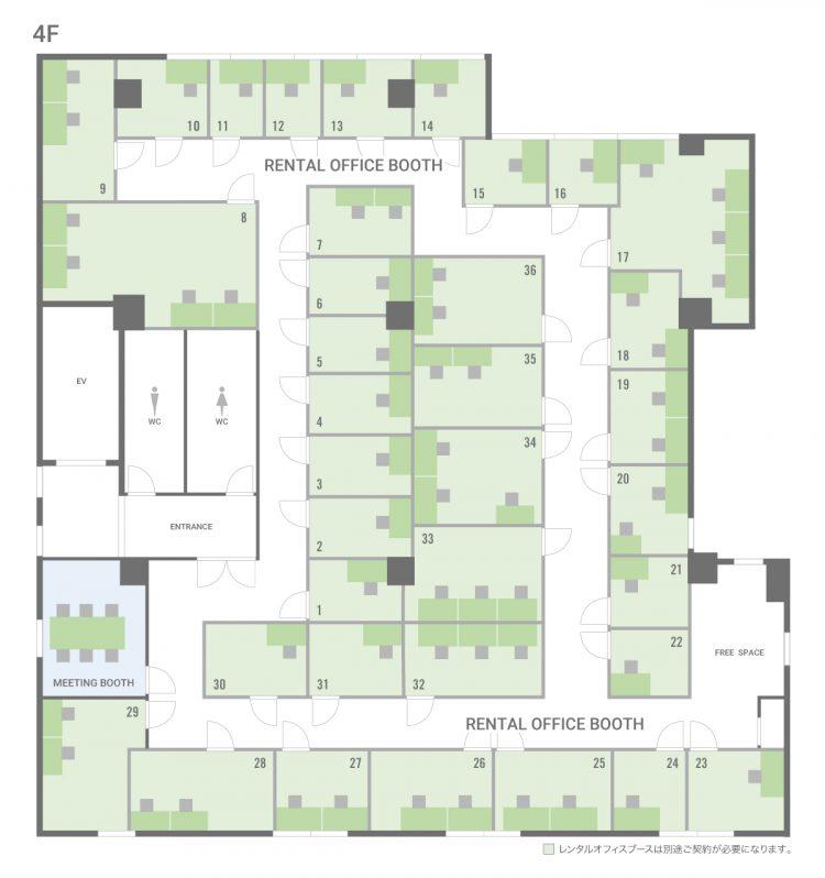 亀戸オフィスの4Fのフロアマップ
