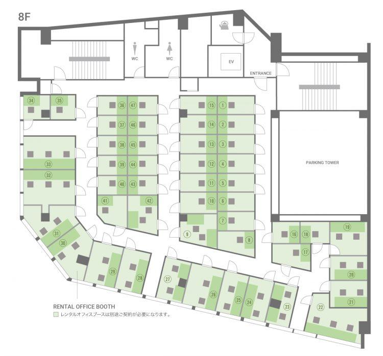 神戸三宮オフィスの8Fのフロアマップ