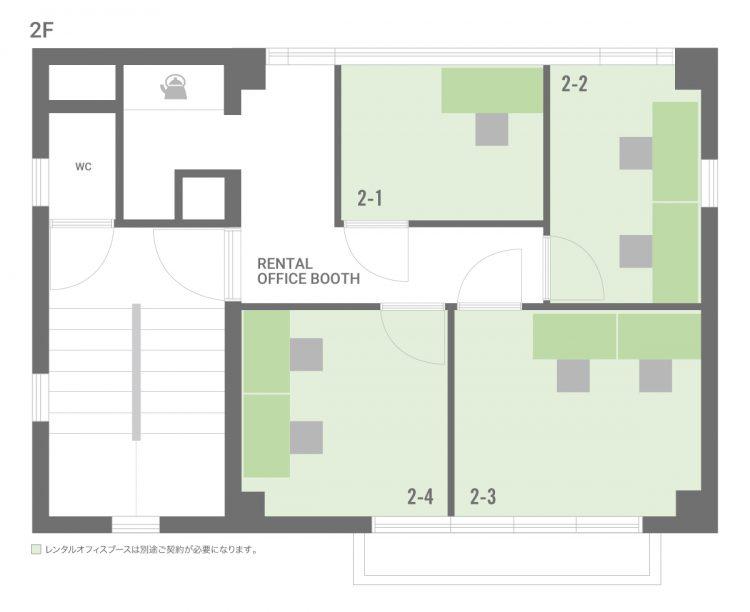 高円寺北オフィスの2Fのフロアマップ