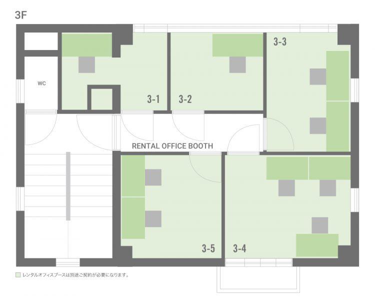 高円寺北オフィスの3Fのフロアマップ