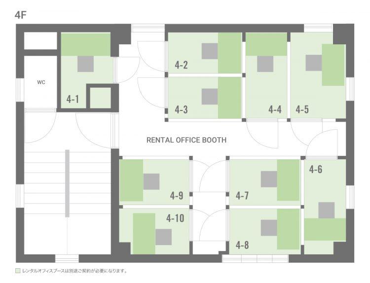 高円寺北オフィスの4Fのフロアマップ