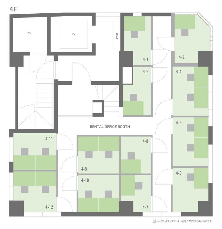 下北沢オフィスの4Fのフロアマップ