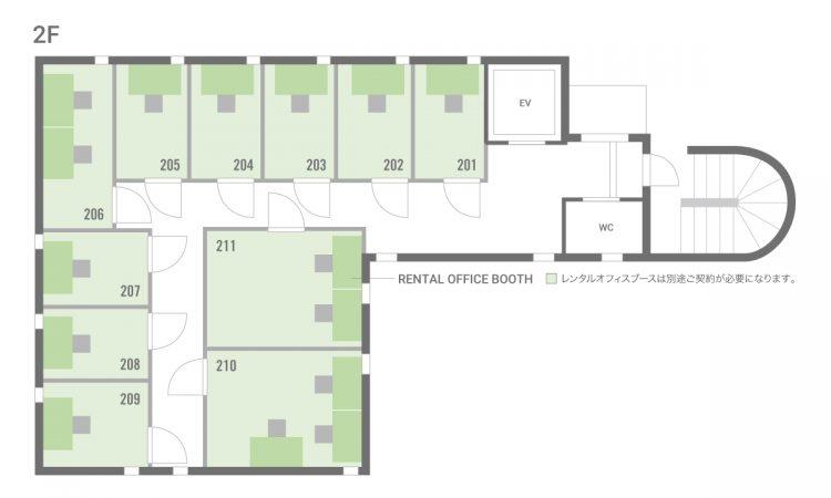 錦糸町住吉オフィスの2Fのフロアマップ