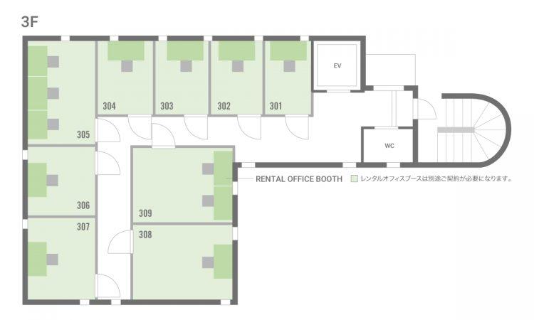 錦糸町住吉オフィスの3Fのフロアマップ